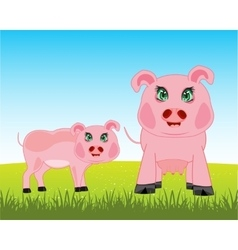 Pigs on meadow vector