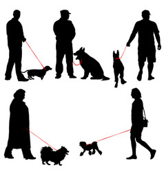 set ilhouette of people and dog vector image