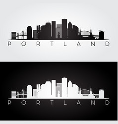 Portland usa skyline and landmarks silhouette vector