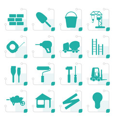 Stylized construction and building icon set vector