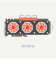 Plain flat color computer part icon video vector