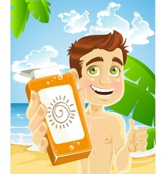 Man on the beach with cream for sunburn vector