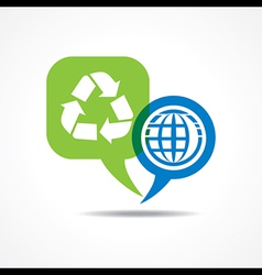 Earth and recycle icon in message bubble vector