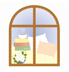 Light window city romance coffee break vector