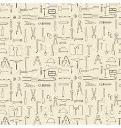 Construction tools items linear set seamless vector
