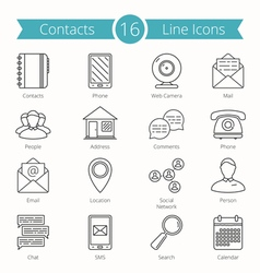 Contacts line icons vector