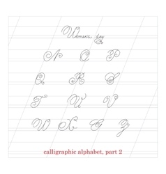 Hand drawn calligraphic alphabet part 2 vector