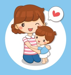 boy love his mom vector image