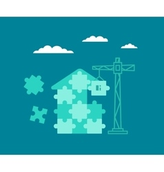 Building house from the particles of puzzles vector