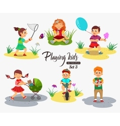 Hildren playing character isolated vector