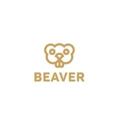 Beaver lines an outline monochrome vector