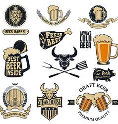 beer and steak vector image vector image