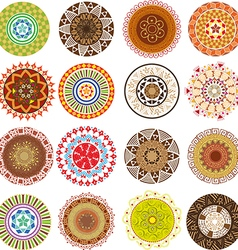 Big set of colored mandalas vector image vector image
