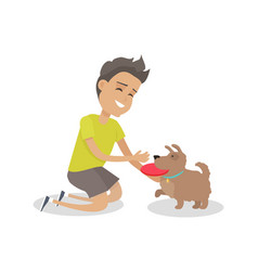 Boy playing frisbee with his dog vector