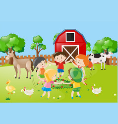 Children holding hands in circle in the farm vector