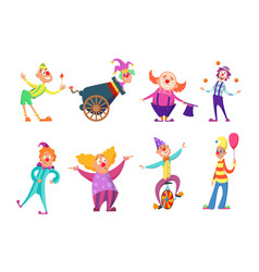 circus characters funny clowns in action poses vector image