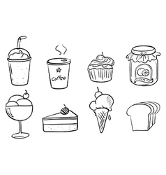 Different foods with drinks vector