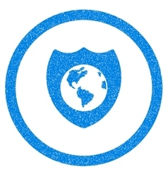 Earth shield rounded icon rubber stamp vector