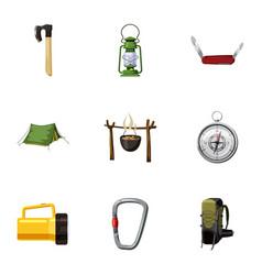 encampment icons set cartoon style vector image
