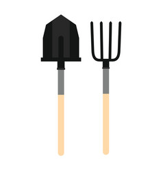 Farming tools - fork and spade in flat style vector