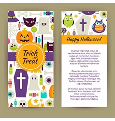 Flyer Template of Flat Design Happy Halloween vector image