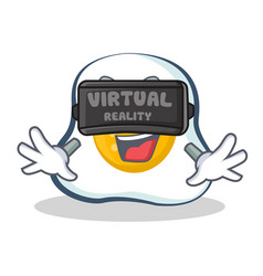 Fried egg character cartoon with virtual reality vector