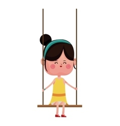 Girl with yellow dress playing swing vector