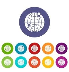Globe set icons vector image