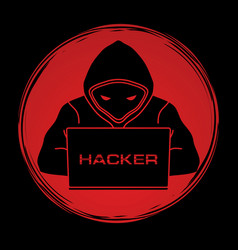 hacker working on laptop vector image