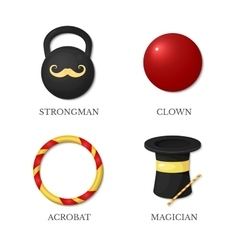 Icons circus artists vector