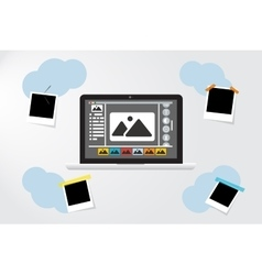 Laptop Icon on gray backgroud Photo frame near vector image