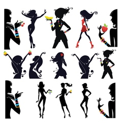 large collection of girls and fruits vector image