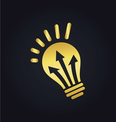 lightbulb arrow electric gold logo vector image vector image