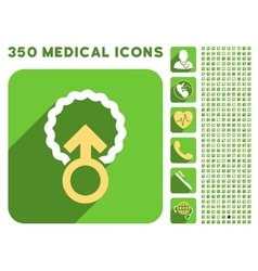 Ovum penetration icon and medical longshadow icon vector