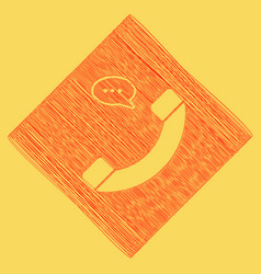 Phone with speech bubble sign red vector