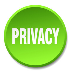 Privacy green round flat isolated push button vector