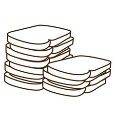 Silhouette stack slices bread bakery food vector