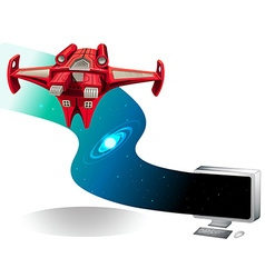 Spaceship flying out of the computer vector image vector image