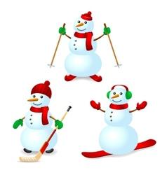 Sport snowman set vector image