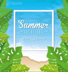 Summer beach icon vector