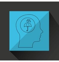 Symbol weather icon silhouette head and umbrella vector