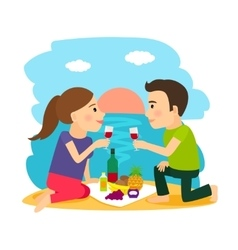Young couple dining at beach vector