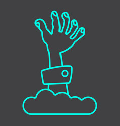 Zombie hand line icon halloween and scary vector