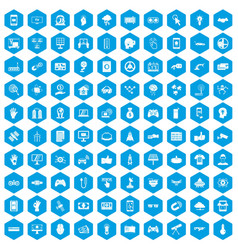 100 hi-tech icons set blue vector image vector image