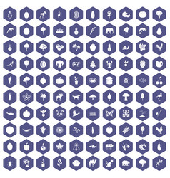 100 live nature icons hexagon purple vector