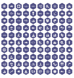 100 sea icons hexagon purple vector