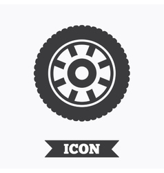 Car wheel sign icon circular transport component vector