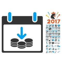 Coins income calendar day flat icon with vector
