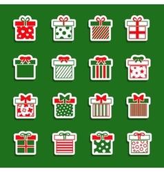 Christmas gift boxes icons set vector