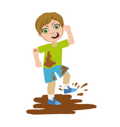 Boy jumping in dirt part of bad kids behavior and vector
